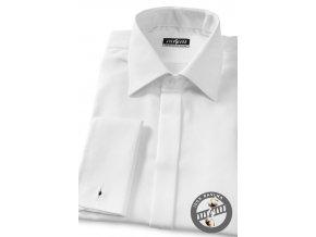 Pánská bílá luxusní košile s jemným vzorem, krytá léga, na manžetové knoflíčky 517-1