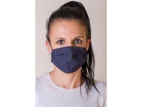 Tmavě modrá dámská ochranná rouška na obličej s kapsou, dvouvrstvá, skládaná, s tvarovacím drátkem (s gumičkami)