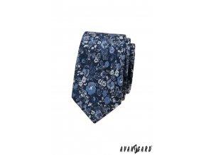 Tmavě modrá luxusní pánská slim kravata s květovaným vzorem