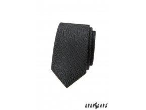 Tmavě šedá vzorovaná luxusní pánská slim kravata