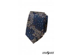 Tmavě modrá luxusní pánská slim kravata s hnědým vzorem