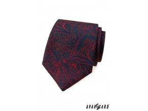 Tmavě modrá luxusní pánská kravata s červeným vzorem