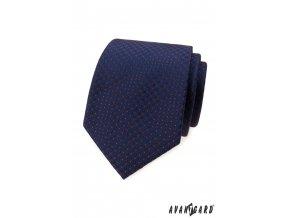 Tmavě modrá luxusní pánská kravata s červenými puntíčky