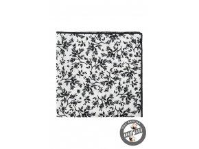 Bílý luxusní kapesníček do saka s černými květy