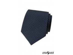 Tmavě modrá luxusní pánská kravata s drobným vzorem