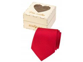 Červená pánská kravata v dřevěné dárkové krabičce – Pro svědka
