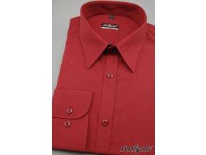 Pánská košile SLIM s dl.ruk. 117-2122 Červená (Barva Červená, Velikost 43/44/194, Materiál 80% bavlna a 20% polyester)