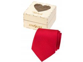 Červená pánská kravata v dřevěné dárkové krabičce – Tatínek