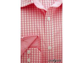 Pánská světle růžová luxusní košile s jemnými kostkami SLIM FIT dl.rukáv 113-176