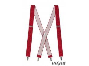 Červené pánské kšandy s tečkami a kovovým středem