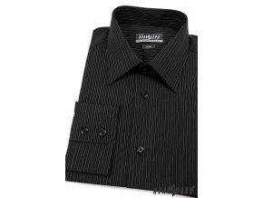 Pánská černá košile s jemnými pruhy SLIM FIT dl. ruk. 115-2302