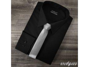 Pánská černá hladká košile SLIM FIT 114-23