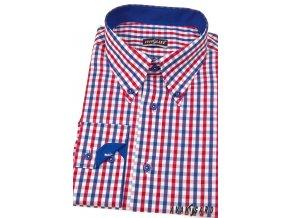 Pánská košile AVANTGARD SLIM dl. ruk. 124-1812 Modrá (Barva Modrá, Velikost 43/44/182, Materiál 65% bavlna a 35% polyester)