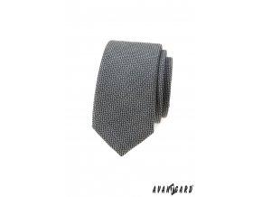 Šedá luxusní pánská slim kravata s drobným vzorkem