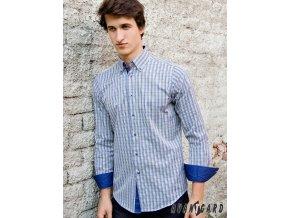 Pánská světle modrá luxusní košile s barevným motivem SLIM FIT dl. ruk. 124-1830