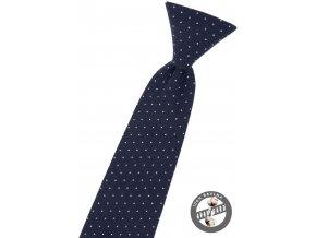Tmavě modrá dětská kravata na gumičku s puntíky (31 cm)