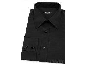 Pánská košile SLIM s dl.ruk. 167-23 Černá (Barva Černá, Velikost 45/194, Materiál 80% bavlna a 20% polyester)