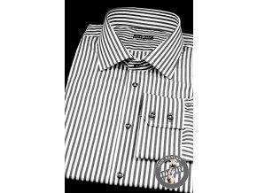 Pánská bílá luxusní košile s černým pruhovaným vzorem SLIM FIT dl.rukáv 109-0123