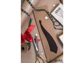 Hnědá podlouhlá dárková krabička na kravatu