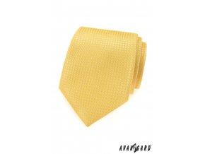 Žlutá luxusní pánská kravata se vzorem stejné barvy