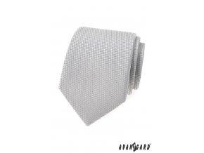 Šedá luxusní kravata s šachovnicovým vzorkem stejné barvy - na zakázku 5 cm