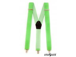 Neonově světle zelené široké jednobarevné šle