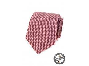 Světle bordó luxusní bavlněná jemně mřížkovaná kravata