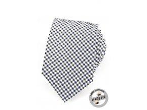 Modrozelená luxusní bavlněná mřížkovaná kravata