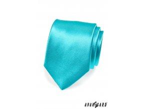 Zářivě tyrkysová jednobarevná lesklá kravata