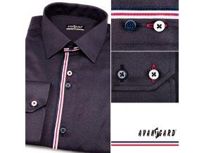 Pánská tmavě modrá luxusní košile s pruhy SLIM FIT dl. ruk. 125-3105