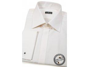 Pánská smetanová košile SLIM FIT, krytá léga, na manžetové knoflíčky 111-164