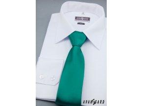 Středně zelená jemně lesklá jednobarevná kravata _