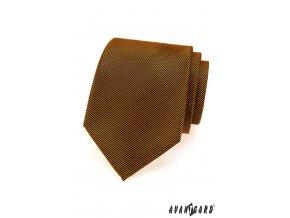 Oranžová luxusní kravata se šikmými velmi tenkými proužky