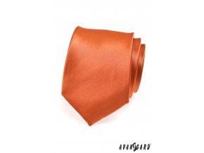 Cihlová jemně lesklá jednobarevná kravata _