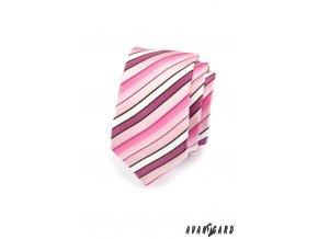 Kravata SLIM AVANTGARD 551-1495 Růžová (Barva Růžová, Velikost šířka 5 cm, Materiál 100% polyester)