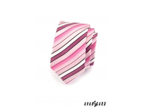 Růžová kravata s šikmými černými proužky