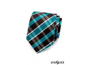 Tyrkysová luxusní kravata s károvaným vzorem _