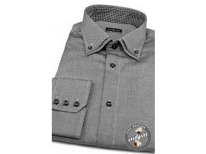Pánská košile SLIM dl.rukáv 130-2223 Šedá (Barva Šedá, Velikost 45/182, Materiál 100% bavlna)