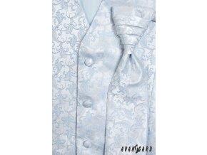 Světle modrá vesta s květovaným vzorem + regata + kapesníček_