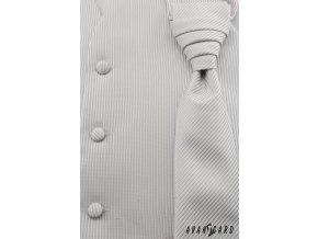 Stříbrná vesta s proužky + regata + kapesníček_