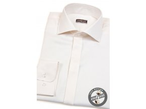 Pánská smetanová SLIM FIT košile, krytá léga, dl. ruk. 106-164