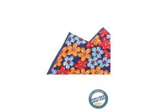 Kapesníček hedvábný PREMIUM 610-5512 Modrá (Barva Modrá, Velikost 25x25 cm, Materiál 100% hedvábí)
