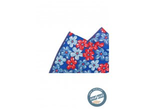 Kapesníček hedvábný PREMIUM 610-5513 Modrá (Barva Modrá, Velikost 25x25 cm, Materiál 100% hedvábí)