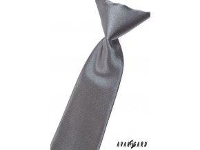 Grafitová chlapecká jednobarevná kravata