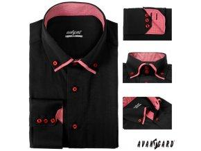 Černá pánská SLIM FIT košile, dl. ruk., 120-2314