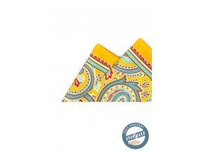 Kapesníček hedvábný PREMIUM 610-5543 Žlutá (Barva Žlutá, Velikost 32x32 cm, Materiál 100% hedvábí)