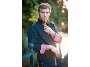Černá pánská SLIM FIT košile AVANTGARD, dl. rukáv, 120-2312