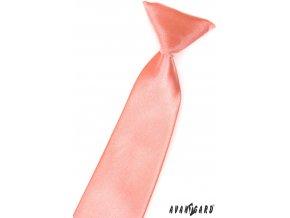 Lososová chlapecká jednobarevná kravata