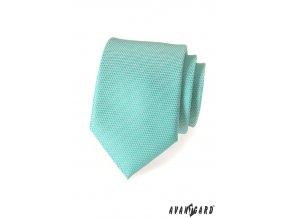 Světle tyrkysová vroubkovaná kravata_