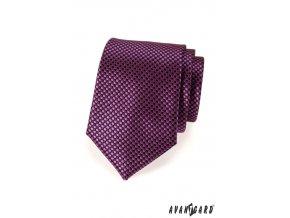 Tmavě fuxiová kravata se vzorem šachovnice_